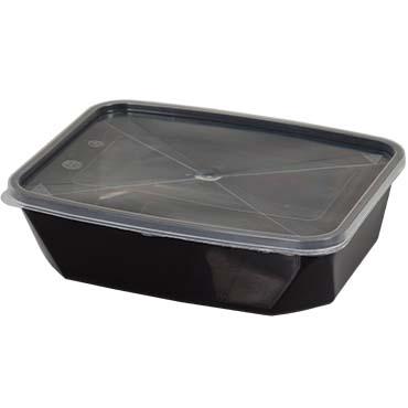 קופסא מלבנית שחורה למזון 1 ליטר